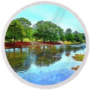Lake Reflections On A Sunny Day Round Beach Towel