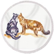 L'amour - Cats In Love Round Beach Towel