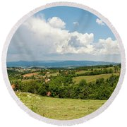 Landscape With Orchards Round Beach Towel