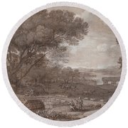 Landscape With The Rest On The F  Round Beach Towel