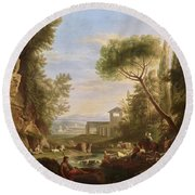 Landscape With Water Round Beach Towel