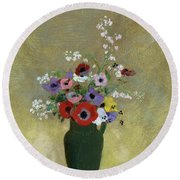 Large Green Vase With Mixed Flowers, 1912 Round Beach Towel