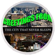 Las Vegas The City That Never Sleeps Custom Pc Round Beach Towel