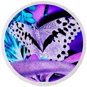 Lavender Butterfly Round Beach Towel