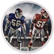 Lawrence Taylor New York Giants And Derrick Thomas Kansas City Chiefs Abstract Art 1 Round Beach Towel