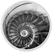 Lblack And White View Of Spiral Stairs Inside The Arch De Triump Round Beach Towel