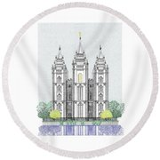 Lds Salt Lake Temple - Colorized Round Beach Towel