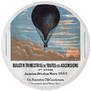Le Ballon Aeronautical Journal, 1883 French Poster Round Beach Towel