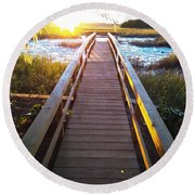 Lead Me To The Light Round Beach Towel