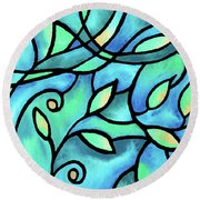 Leaves And Curves Art Nouveau Style II Round Beach Towel