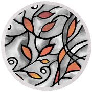 Leaves And Curves Art Nouveau Style Xii Round Beach Towel