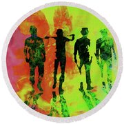 Legendary Clockwork Orange Watercolor Round Beach Towel