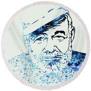 Legendary Hemingway Watercolor Round Beach Towel