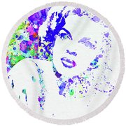 Legendary Judy Garland Watercolor I Round Beach Towel