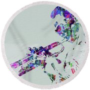 Legendary Miles Davis Watercolor Round Beach Towel