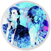 Legendary Pulp Fiction Watercolor Round Beach Towel