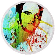 Legendary Quentin Watercolor I Round Beach Towel