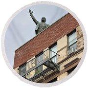 Lenin Statue In East Village N Y C Round Beach Towel