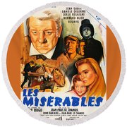 Les Miserables 1958 French Movie Classic Round Beach Towel