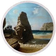 Les Petites Mouettes, Small Seagulls Round Beach Towel