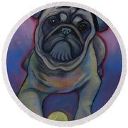 Lets Play Pug  Round Beach Towel