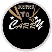 Licensed To Carry Hairstylist Hairdresser Scissors Round Beach Towel