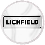 Lichfield City Nameplate Round Beach Towel