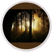 Light In The Woods Round Beach Towel