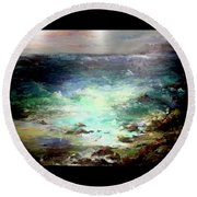 Light Of The Silvery Moon Round Beach Towel