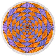 Light Violet On Blue, Yellow On Red Fractal Pattern Round Beach Towel