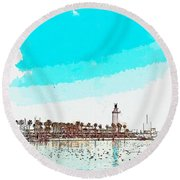 lighthouse 9, watercolor by Adam Asar Round Beach Towel