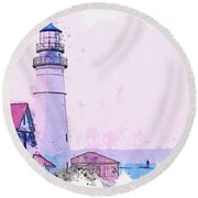 Lighthouse, Cape Elizabeth, United States -  Watercolor By Ahmet Asar Round Beach Towel
