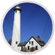 Lighthouse - Presque Isle Michigan Round Beach Towel