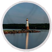 Lighthouse Reflection Round Beach Towel by Rod Best