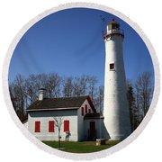 Lighthouse - Sturgeon Point Michigan Round Beach Towel