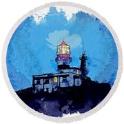 Lighthouse, Watercolor, C2019, By Adam Asar - 19 Round Beach Towel