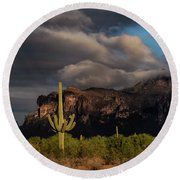 Light Play On The Superstitions  Round Beach Towel