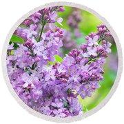 Lilac Flowers Round Beach Towel