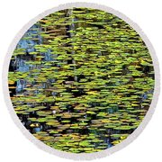 Lilly Pond Painting Round Beach Towel