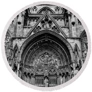 Lincoln Cathedral Side Entrance Monochrome Round Beach Towel by Scott Lyons