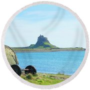 Lindisfarne Castle And Bay Round Beach Towel
