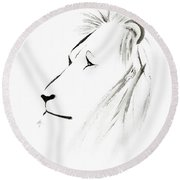 Lion Face With A Deep Wise Gaze Japanese Sumi-e Illustration Round Beach Towel