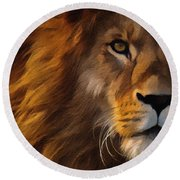 Lion Portrait Round Beach Towel