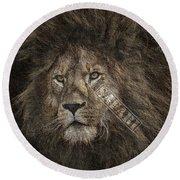 Lion Safari Round Beach Towel