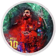 Lionel Messi In Barcelona Kit Round Beach Towel