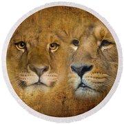 Lions No 02 Round Beach Towel
