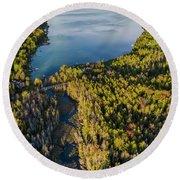 Litte Traverse Lake Vertical Panorama Round Beach Towel