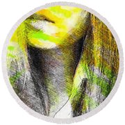 Little China Girl Round Beach Towel