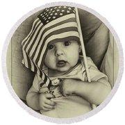Little Patriot Round Beach Towel