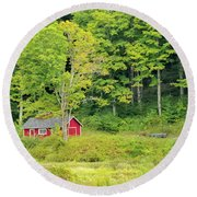 Little Red House Round Beach Towel